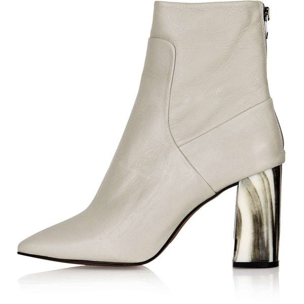 TOPSHOP MUSE Bone Heel Boots (€150) ❤ liked on Polyvore featuring shoes, boots, topshop, grey, real leather boots, genuine leather boots, topshop boots, grey boots and gray shoes