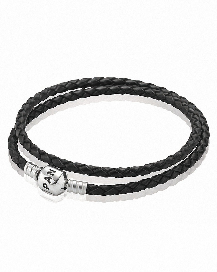 PANDORA Bracelet - Black Leather Double Wrap with Sterling Silver Clasp | Bloomingdale's