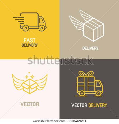 Vector express delivery service logo design elements in trendy linear style - set of flat trucks and boxes emblems - stock vector
