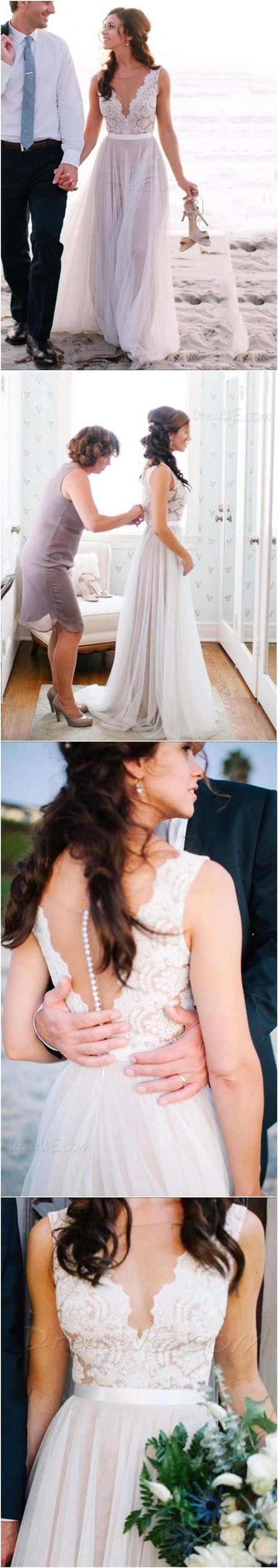 Beautiful Illusion Neckline Lace A Line Beach Wedding Dress #DressweReviews