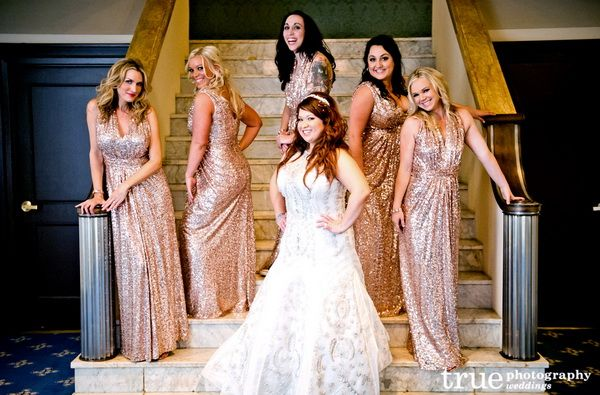 pink gold metallic bridesmaid dresses  Metallic Bridesmaid ...