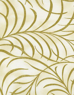 Fabric - Bronze Shimmer By Timeless Treasures, Large Plume Ivory