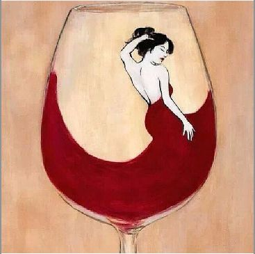 Wine art. Lovely lady in red. http://avinawinetools.com/