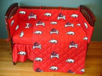 Arkansas Razorbacks Baby Crib Set cute if we have a boy.. If i can keep matt away from the camo lol