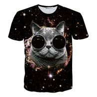 Galaxy 3D Cat Mens Fashion  T Shirt Garfield Printed Slim Fit Funny T-shirts
