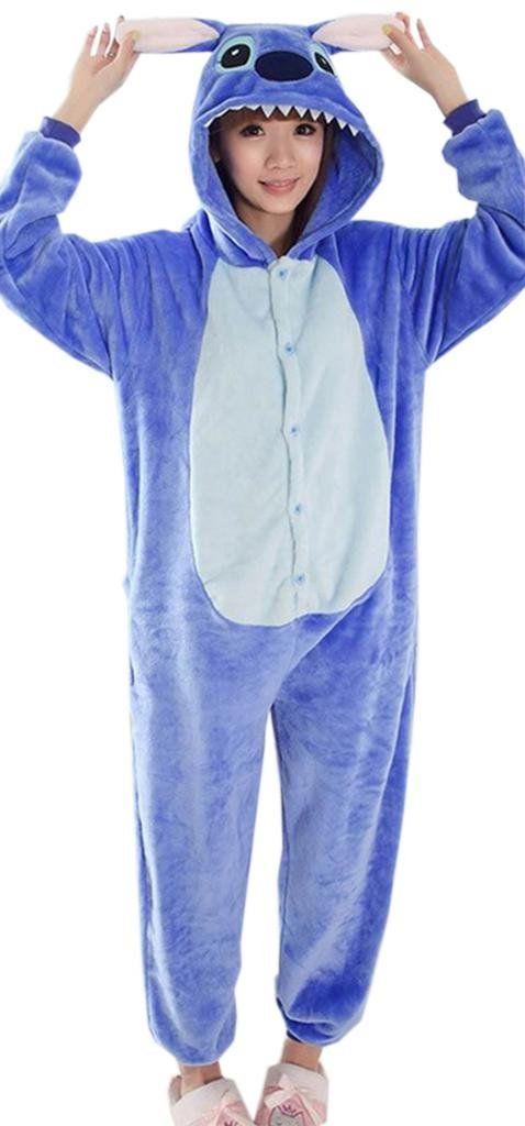 Y-BOA 1Pc Pyjama Combinaison Coton Femme Taille L (Stitch Bleu)