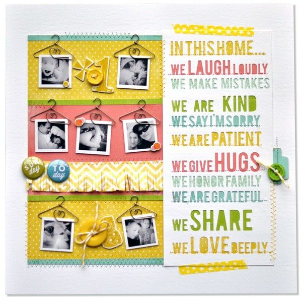 love this!: Scrapbook Ideas, Maya Roads, Awesome Amy, Amyhel 2Peasinabucket, Scrapbook Layout, In This House, Families Scrapbook, Amy Heller, Bright Colors