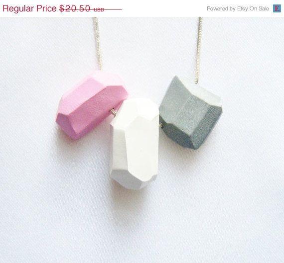 VALENTINES DAY SALE Pastel geo necklace in soft pink by AlinaandT, $17.43