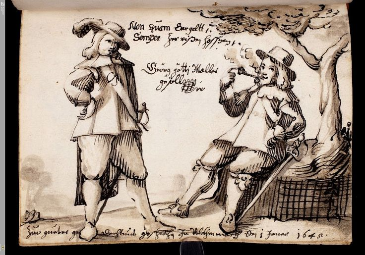 two students, one smoking, painted in 1645 into an album whose owner's name is…