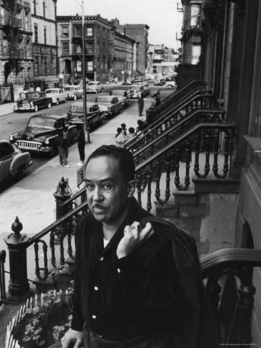 African American Poet/Writer Langston Hughes Standing on the Stoop in Front of His House in Harlem Premium Photographic Print