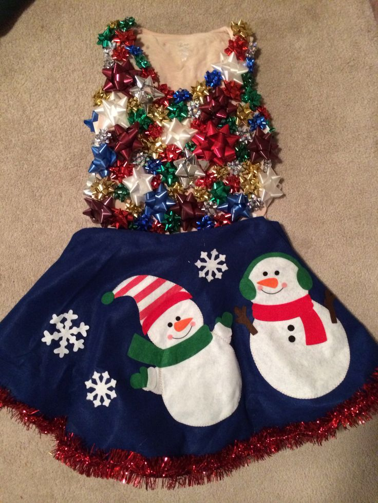 Christmas party outfit using Dollar General tree skirt and old tank top hot glued with bows