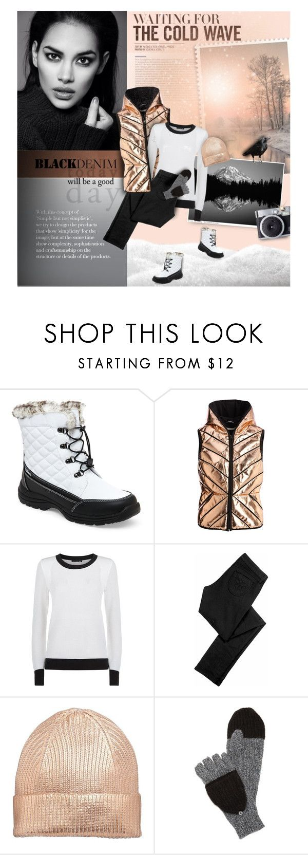 """""""Apricot winter sunrise"""" by kseniz13 ❤ liked on Polyvore featuring Totes, Blanc Noir, rag & bone, Siwy, White + Warren, Winter, Boots, Sweater, nature and vest"""
