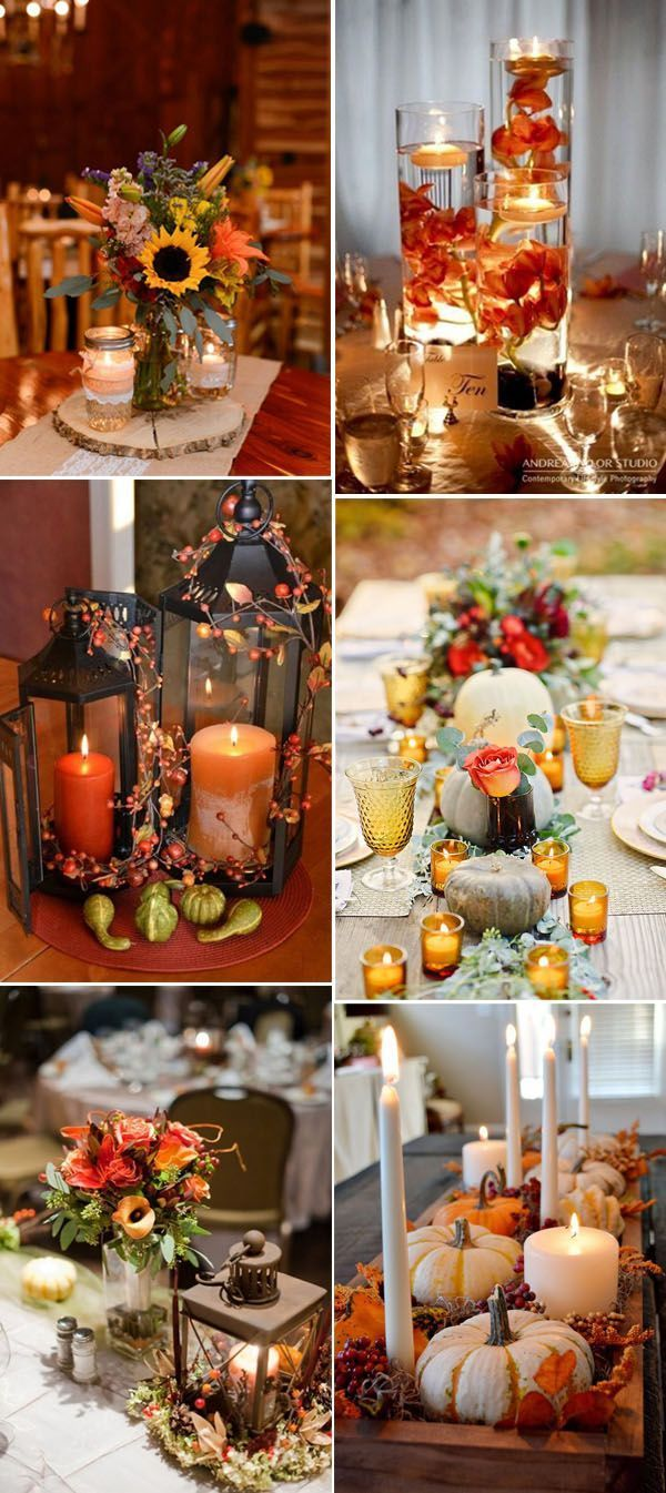 Fall wedding and thanksgiving centerpieces ideas with candles. Help set the tone no matter what the occasion is.