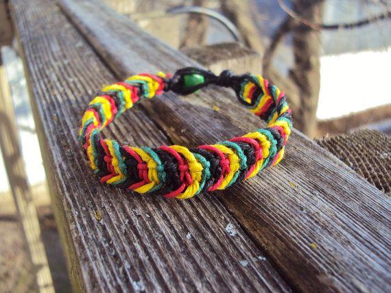 Rasta Bracelet Hemp Macrame Rastafarian Jewelry by JackZenHemp, $10.00