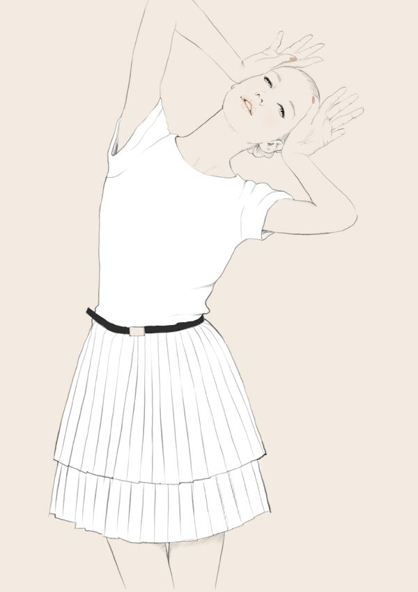 Fashion illustration - pleated white dress, chic fashion drawing // Judith van den Hoek