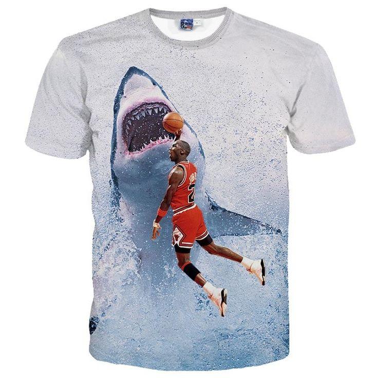 Michael Jordan Slam Dunking a Great White Shark Graphic Print T-Shirt
