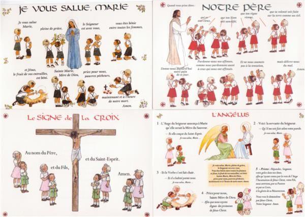 Posters Notre Père, Je vous salue Marie, Angélus et Signe de Croix (Lot) - Pierre TEQUI - Editeur Religieux