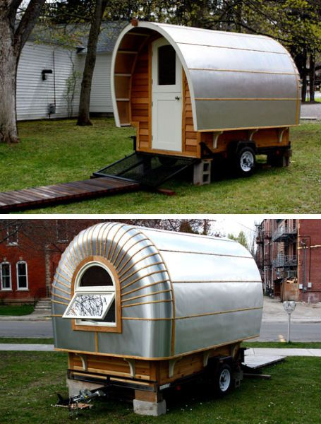 "Another project taking a cue from the shiny metal of Airstream exteriors is the 'Protostoga', built as an extension for the owners' more traditional-looking – but still highly unusual – tiny house. ""It will function as a flex space,"" creator Ann Holley told Tiny House Blog. ""It can be a guesthouse, vacation cottage, dining room, mobile studio, escape pod, reading room and much more."""