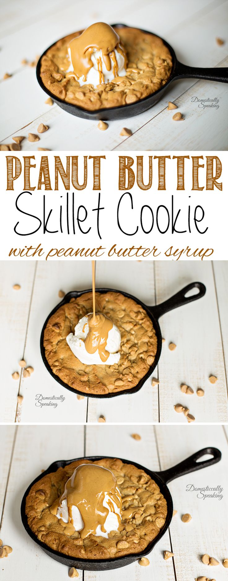 Skillet Peanut Butter Cookie drizzled with Peanut Butter Syrup perfect for National Peanut Butter Day