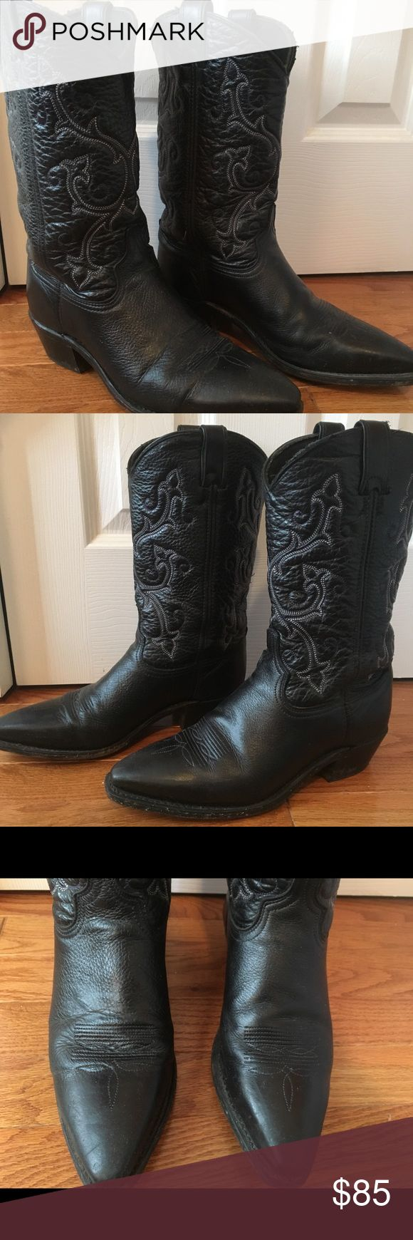 Black Leather Cowboy Boots Genuine leather cowboy boots slightly worn, in fantastic condition! Leather is soft, has beautiful white and dark purple stitching. Size 9. Lucchese Shoes