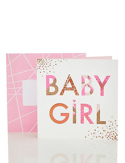 Bright New Baby Girl Card | M&S