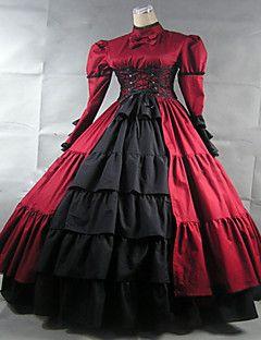 Gothik Einteilig Langarm Normallänge Rot Lolita Kleid Satin / Spitze