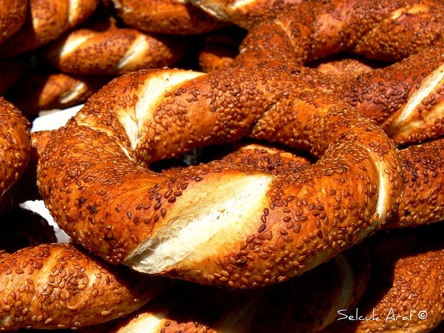 Simit - they have these all over Turkey and they are so good!