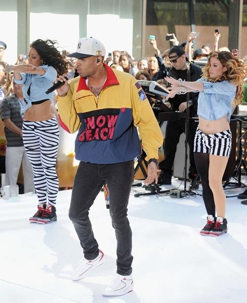 Chris Brown in Jordan 2 White/Red