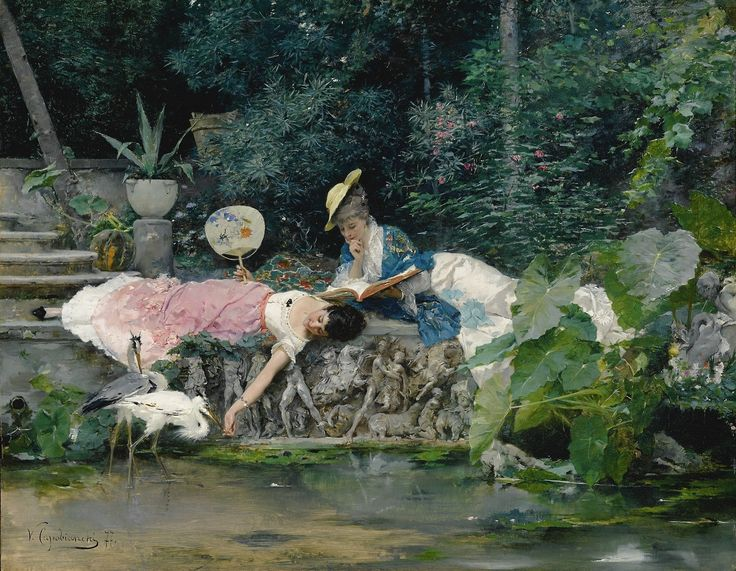 Le héron familier (1877). Vincente Capobianchi (Italian, active 1870-1880). Oil on panel. The elegantly dressed ladies are reading while enjoying a leisurely afternoon in a lush garden, unaffected by...