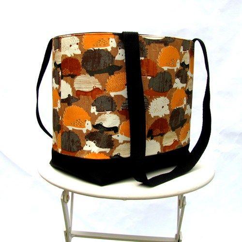 Hedgehog tote or shoulder bag, orange gray, brown, and black canvas by Patchtique: Shoulder Bags, Gray Brown, Handmade Bags, Black Canvas, Hedgehog Tote, Hedgehog Stuff, Orange Gray