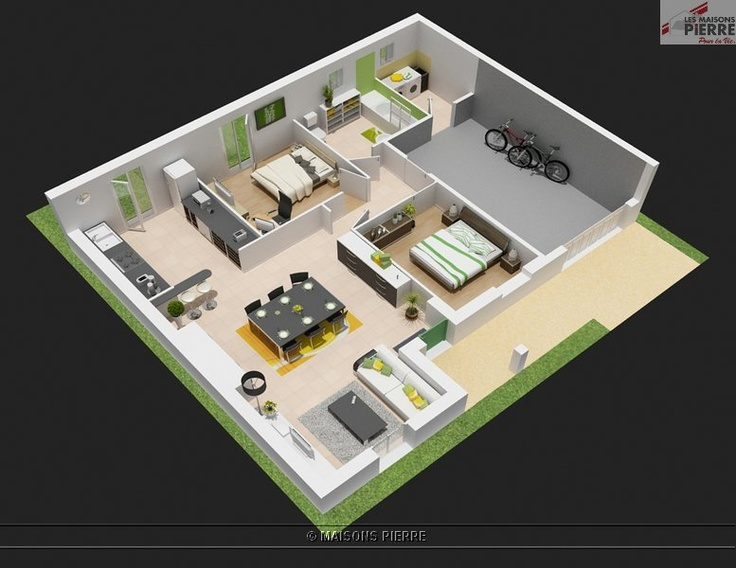 69 best plan maison images on pinterest for Plan maison carree plein pied