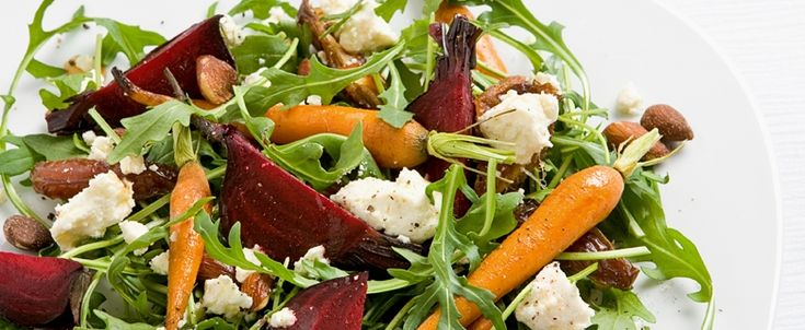 Rocket, Roasted Beetroot, Carrot and Goat's Cheese Salad recipe, brought to you by MiNDFOO