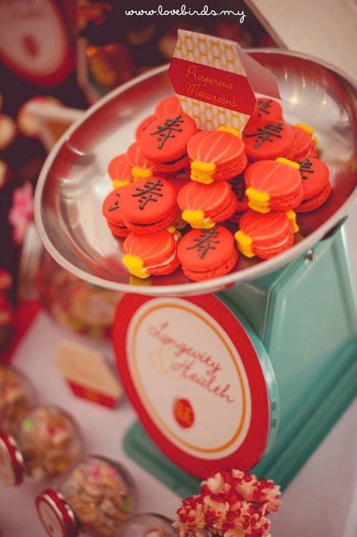 Asian Inspired 70th Birthday Party via Kara's Party Ideas : Macaroons chinese lanterns