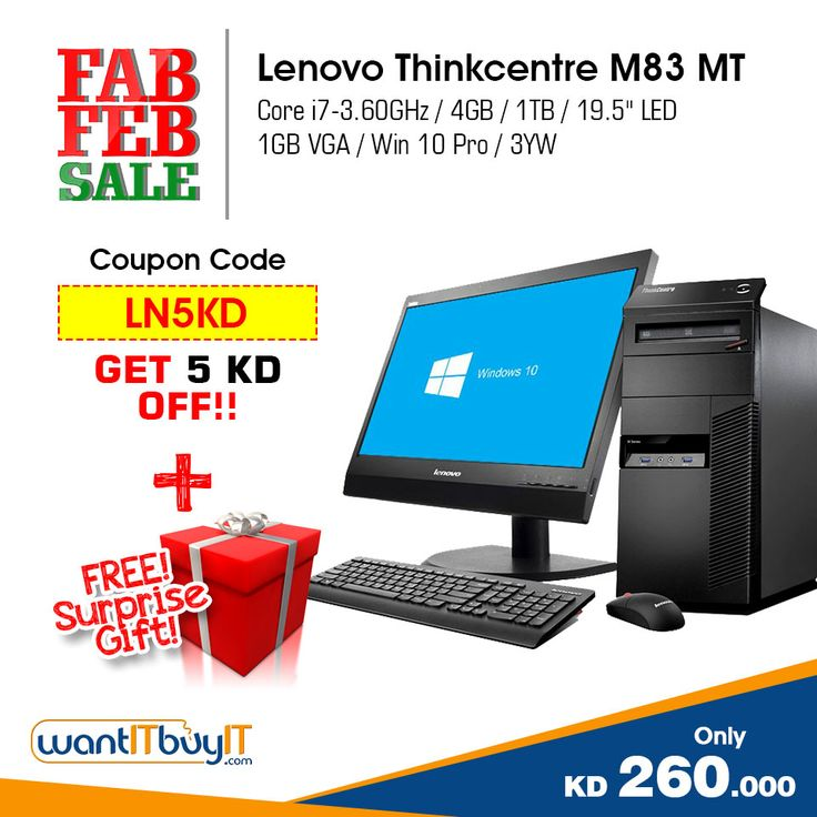 FREE Surprise Gift and Extra 5KD Discount on Lenovo ThinkCentre M83 Mini Tower Desktop.