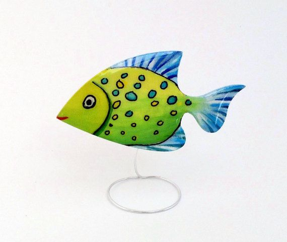 Hand painted laser cut wooden brooch jewelry, crystal resin coated, pin finding, exotic fish