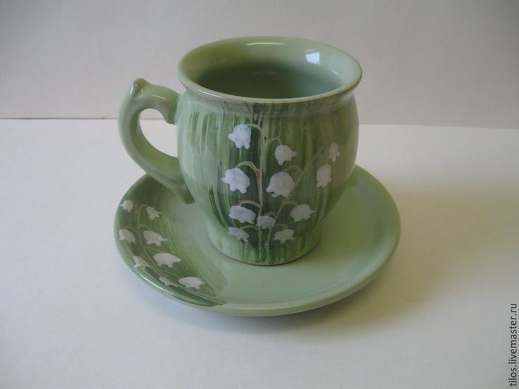 Купить керамическая чашка с блюдцем с ручной росписью - разноцветный, Керамика, глиняная посуда, подарок девушке