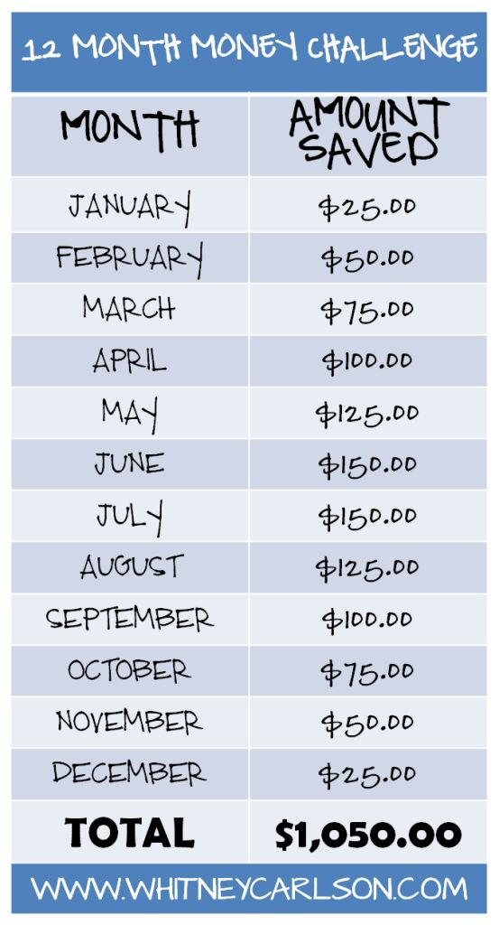 We're taking the 12 Month Money Challenge from @Whitney Clark Carlson! These amounts are SO easy to set aside. We are going to do this per bi-weekly paycheck!