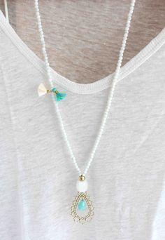 Aqua blue necklace. Gold pendant necklace. Tassel necklace. White beaded necklace. Bohemian necklace – Marcela Montoya
