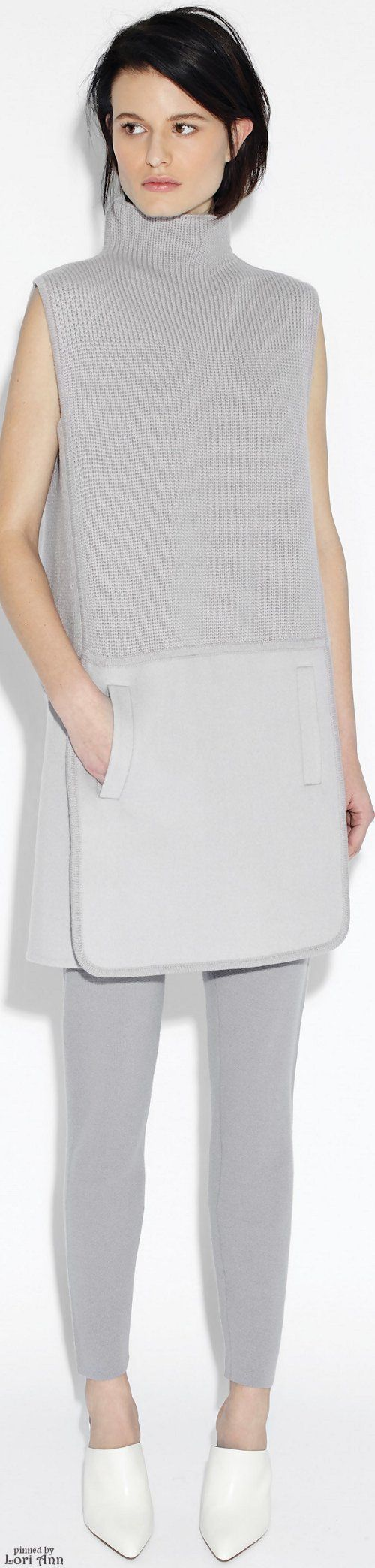 TSE Pre-Fall 2016. Grey knitted sleeveless turtleneck and grey leggings.