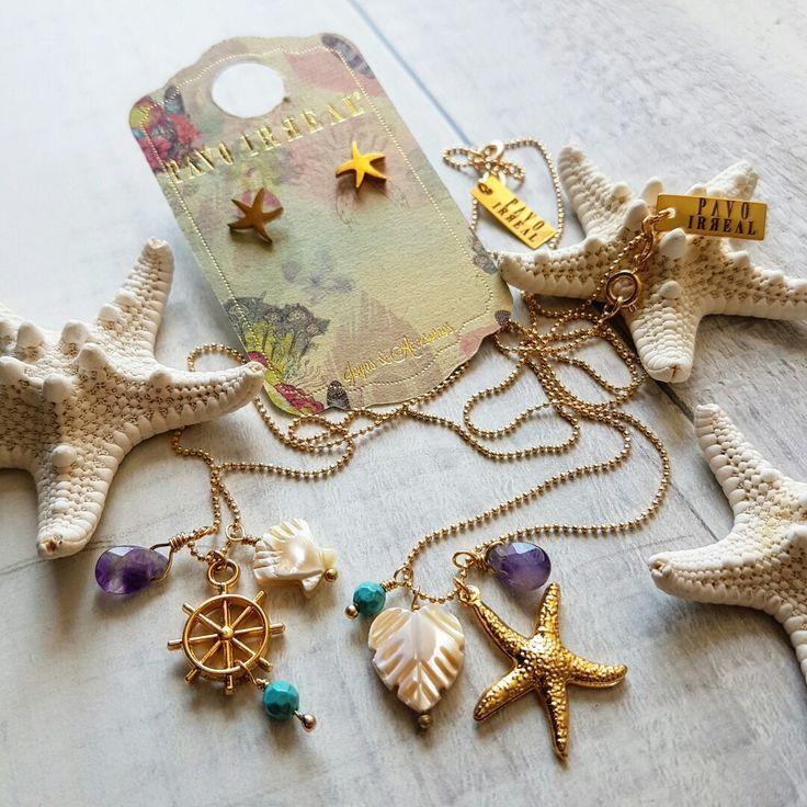 Ref: CA2123  Cadena anchor @pavoirreal #anchor #starfish #turquesa #amatista #nacar #sea #golden #necklace #handmade #yocomprocolombiano💯✔️