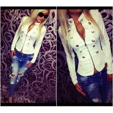 Casual Turtleneck Long Sleeves Zipper Design Buckles Decorated White Cotton Blend Short Coat