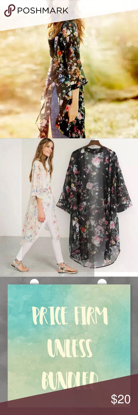 Floral Chiffon Kimono Floral Chiffon Kimono. Made of 100% polyester. Fits true to size. Available in Small, medium and large. Price firm unless bundled. Bundle 3+ and save 15% Tops