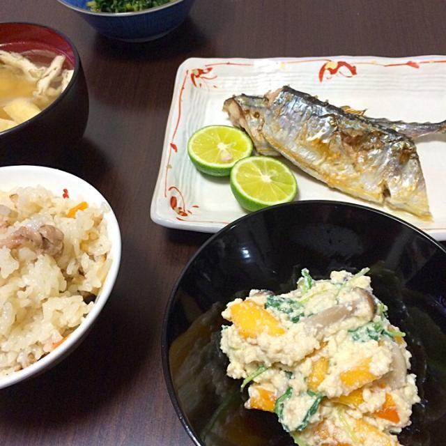 白和えの具に柿を入れます しめじ、三つ葉など  今日は、三つ葉がなかったので水菜を入れてみました - 2件のもぐもぐ - 柿の白和え by Yuko