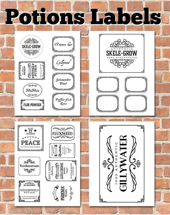 Printable Potions Labels - INSTANT DOWNLOAD