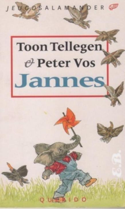 Jannes Schrijver: Toon Tellegen Illustrator: Peter Vos Jeugdsalamander  Jannes is een kleine olifant, die met zijn moeder naar de stad gaat of naar de dierentuin. Voor hem zijn alle beesten olifanten: een kleintje in een web, of een kwetterende olifant in de lucht. Tot hij op een dag wakker wordt en zelf in een nijlpaard veranderd is.  Uitgever: Querido Jaar: 1995 Druk: Derde druk Paperback