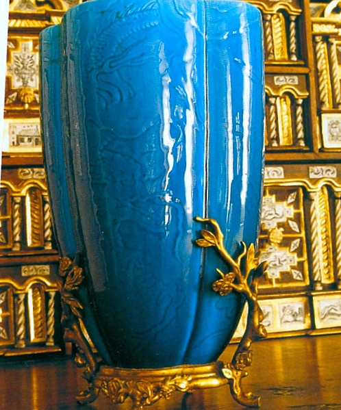 """Théodore Deck (1823-1891) """"Persian Blue"""" earthenware, now known as """"bleu Deck"""" glaze after Theodore Deck 're-discovered' the lost formulas used in ancient Islamic pottery. This vase has a Asian-inspired melon-form with bronze mounts. #Theodore_Deck #Deck #pottery #glaze #bleu_Deck #turquoise #blue #art_pottery #France"""