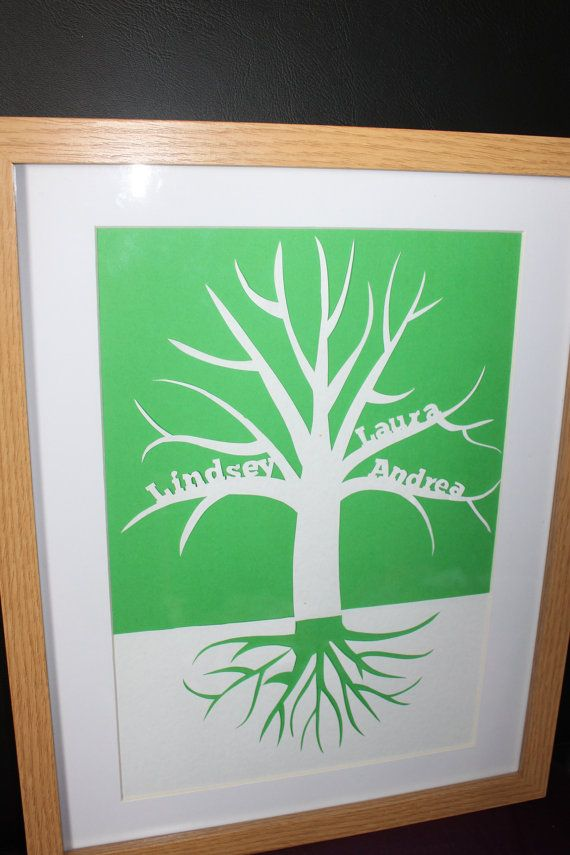 Downloadable PDF family tree papercut papercutting template to fit up to six names.
