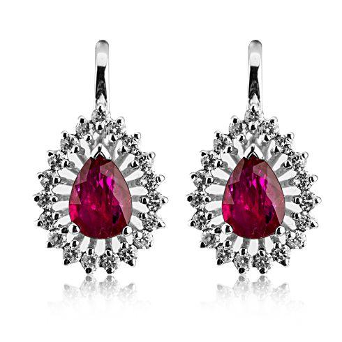 Cercei cu rubine si diamante C408