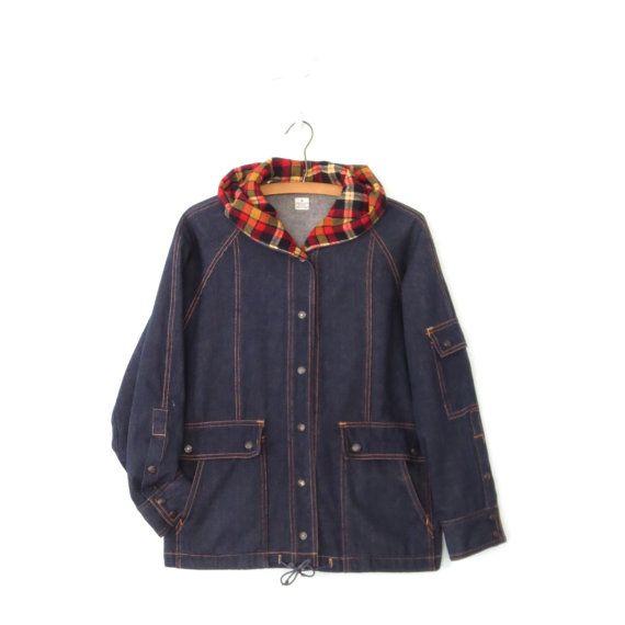 Hooded Jean Jacket  Vintage Denim Coat  80s by sparvintheieletree