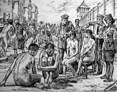 Prisoners from the adjacent men's camp were assigned the task of cutting women's hair, during the registration of prisoners from a transport from Czechoslovakia .